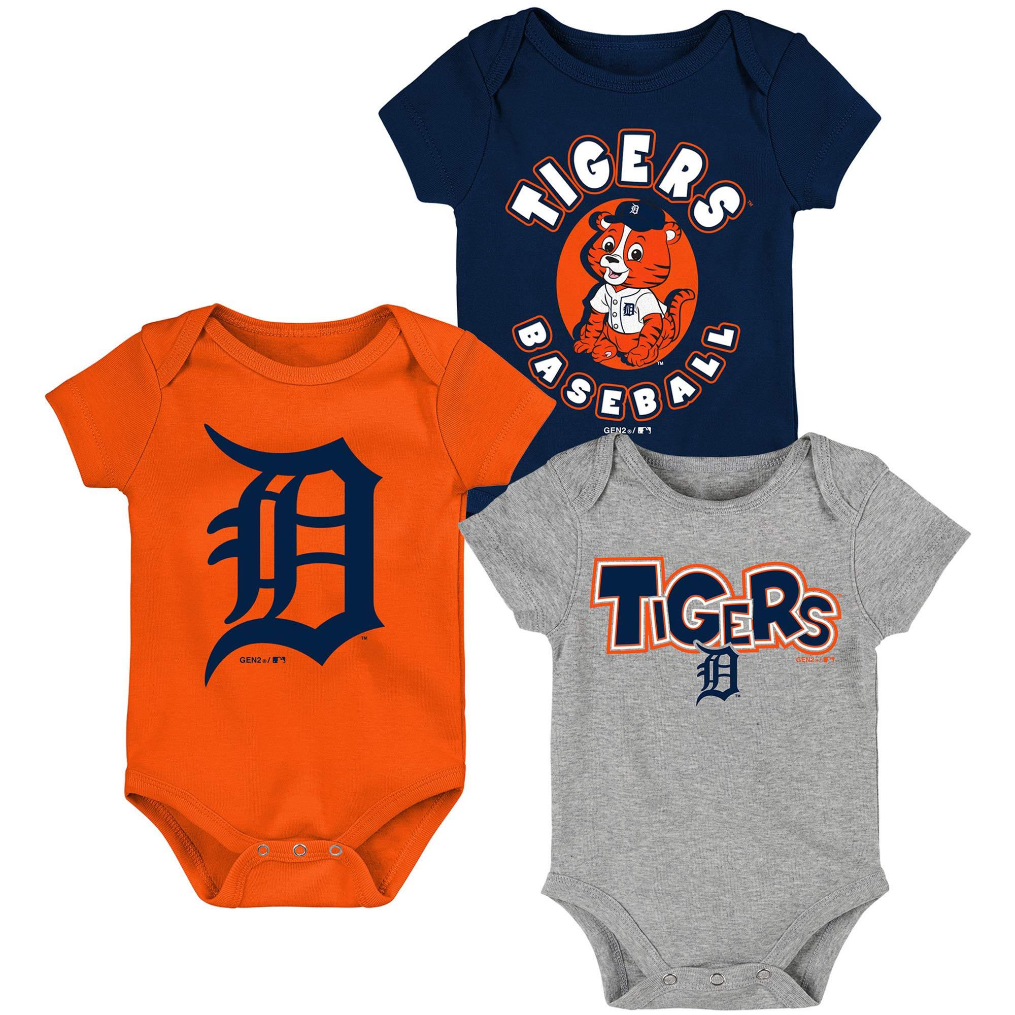Detroit Tigers Newborn & Infant Everyday Fan Three-Pack Bodysuit Set - Navy/Orange/Heathered Gray