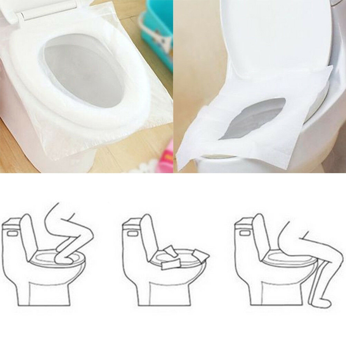 Toilet Seat Disposable Paper Travel Covers Sanitary Cover Biodegradable Camping