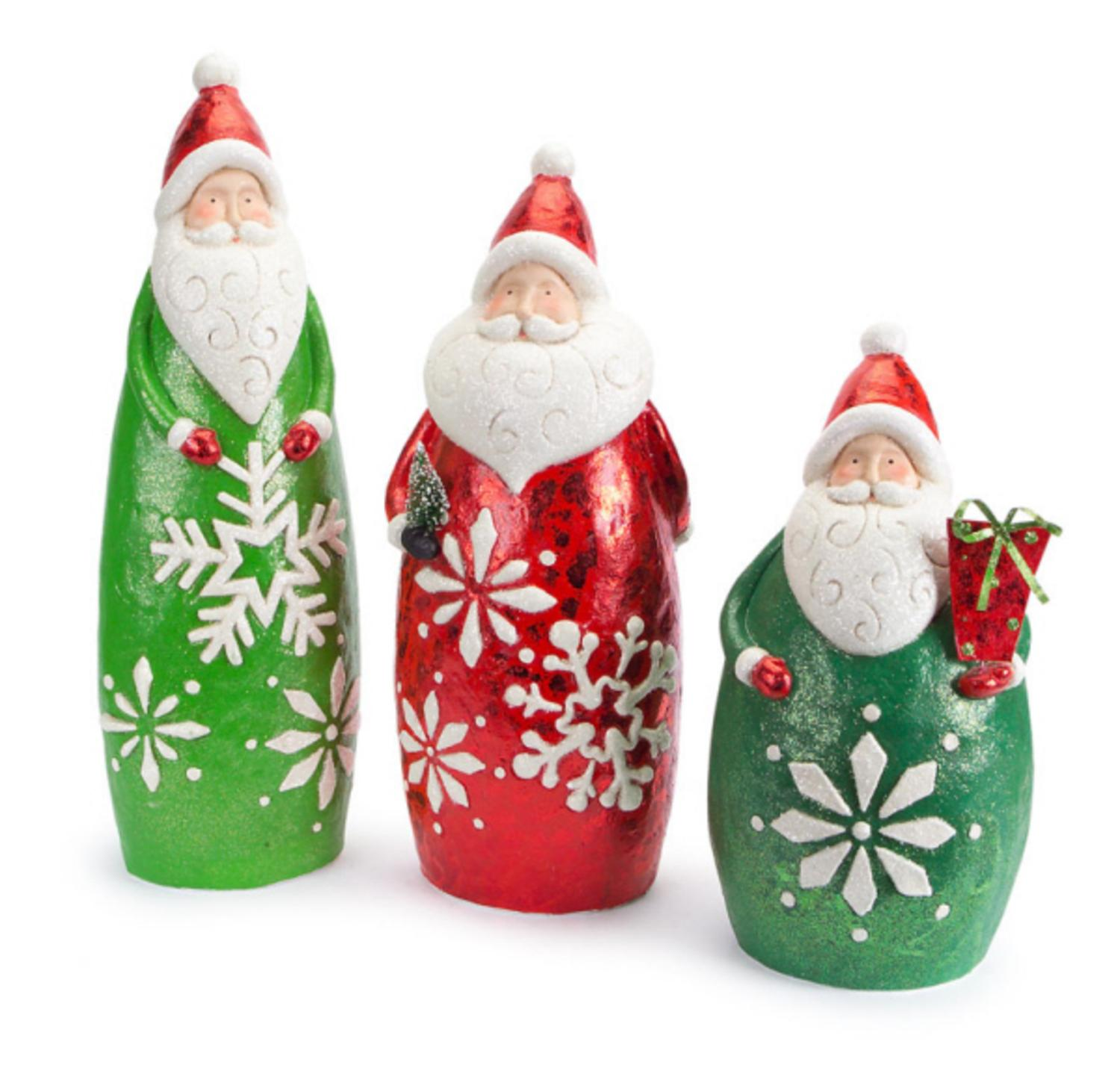 Set of 3 Santa Claus in Glittered Snowflake Suit Christmas Figure Decorations 24.25""