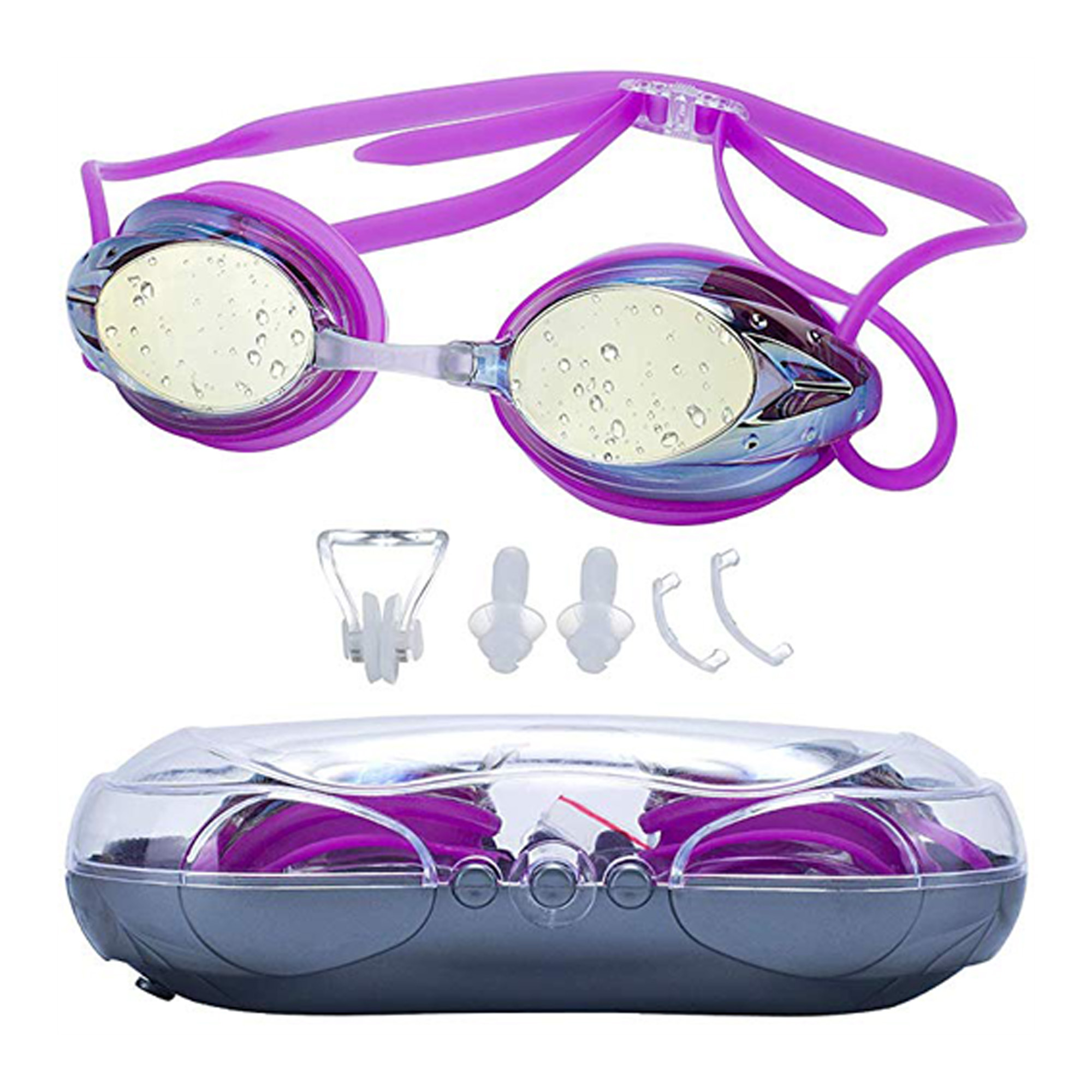 C.F.GOGGLE Swimming Goggles Anti Fog Shatterproof UV Protection, No Leaking with Silicone Nose Clip Ear Plugs and Protection Case Swimming Goggles Suit for Men Women Kids,White/ Pink/ Black