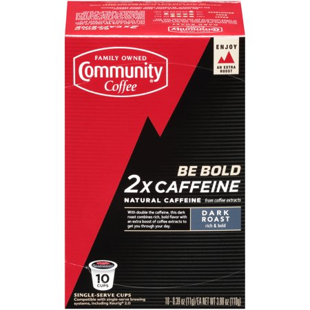 Community Coffee 2X Caffeine Single Serve Coffee Pods, Dark Roast, 10 Count - Compatible with Keurig 2.0 K-Cup Brewers ()