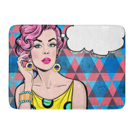 GODPOK Pop of Girl with The Speech Bubble Party Birthday Hollywood Movie Star Comic Woman Sexy Lady Magazine Rug Doormat Bath Mat 23.6x15.7 inch