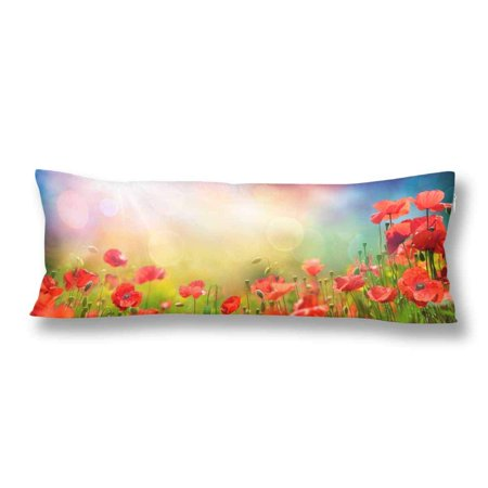 Gckg Poppies Field Sunset Pillow Covers Pillowcase 20x60