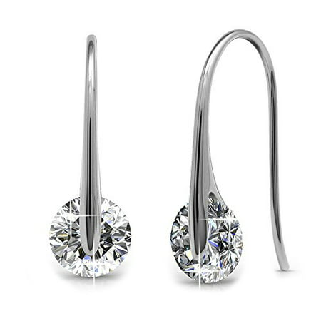 Cate & Chloe McKayla Wonderous 18k White Gold Swarovski Earrings, Drop Dangle-Earrings, Best Silver Earrings for Women, Special-Occasion Jewelry, Solitaire Earrings with Swarovski Crystals - MSRP (Best Earrings For Large Earlobes)