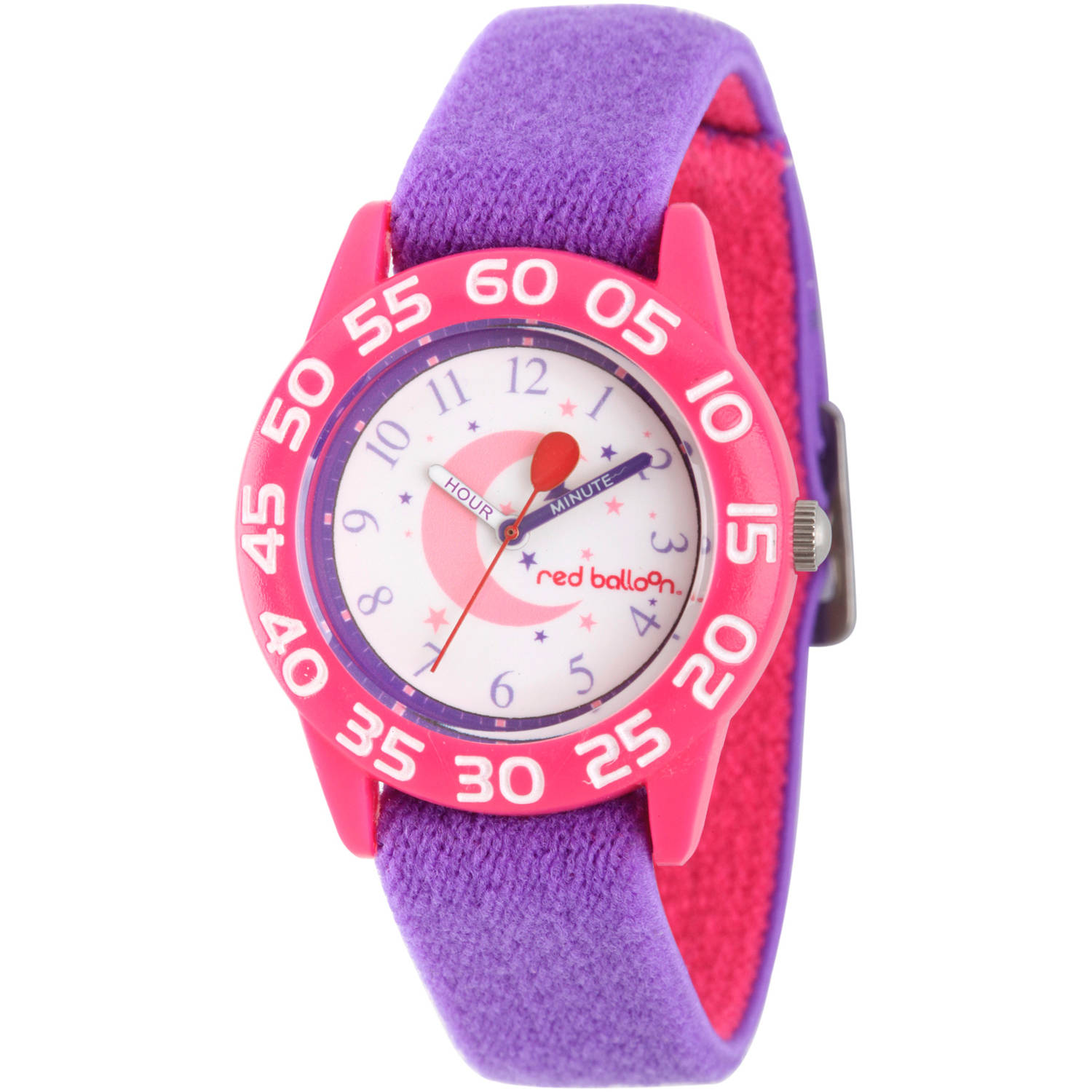 Red Balloon Girls' Pink Plastic Time Teacher Watch, Reversible Purple and Pink Elastic Nylon Strap