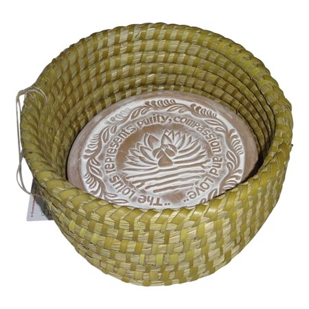 Small Warming Bread Basket w Lotus Warmer Tile Stone Hand Woven For Rolls Appetizers 7 inch by The Crabby Nook ()