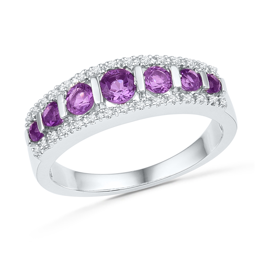 Size 7 Solid 10k White Gold Round Purple Simulated Amethyst And White Diamond Prong Set Wedding Band OR Fashion Ring (1... by AA Jewels