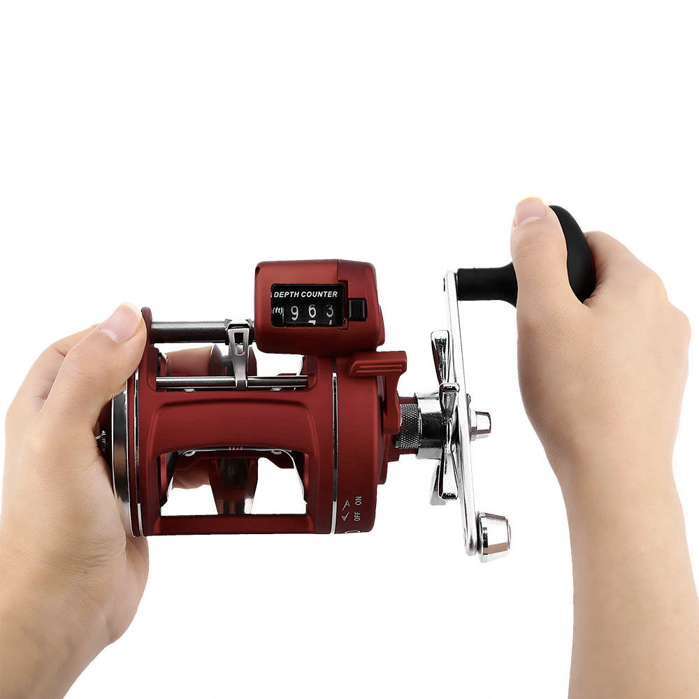 12 Ball Bearings High Speed Fishing Reel with Electric Depth Counting Multiplier