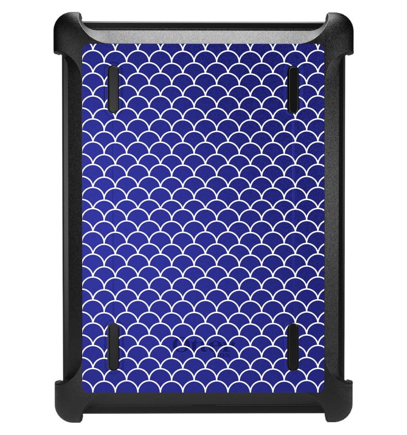 CUSTOM Black OtterBox Defender Series Case for Apple iPad Air 1 (2013 Model) - Blue White Scalloped Pattern