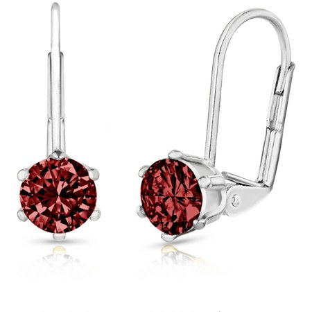 2.0 Carat T.G.W. Round Genuine Garnet Gemstone 18kt White Gold-Plated Leverback Earrings