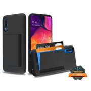 Samsung Galaxy A50 Wallet Phone Case Ultra Protective Cover with 3 Cedit Cards ID Holder Slot [Slim] Heavy Duty Shockproof Hybrid Hard PC + TPU Armor BLACK Case Cover for Samsung Galaxy A50 [A505]
