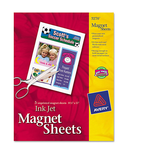 Avery Inkjet Magnet Sheets, 5-Pack
