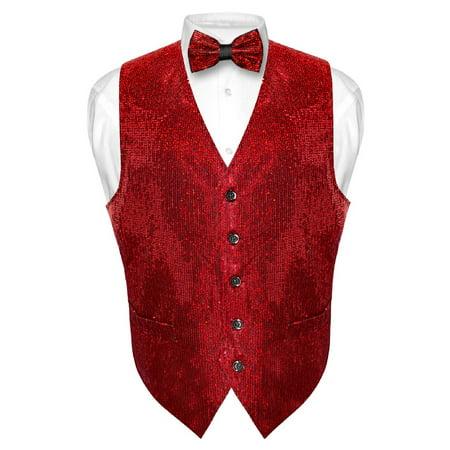 Men's SEQUIN Design Dress Vest & Bow Tie RED Color BOWTie Set for Suit Tux - Sequin Tux