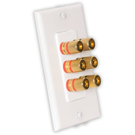 Theater Solutions WP3 Home Theater Speaker Wire Wall Plate 3-Speaker 6 Posts
