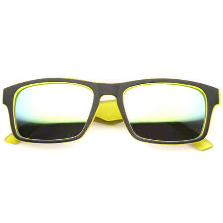 sunglassLA - Action Sport Two-Toned Horn Rimmed Frame Color Mirror Lens Matte Rectangle Sunglasses - (Action Sunglasses)