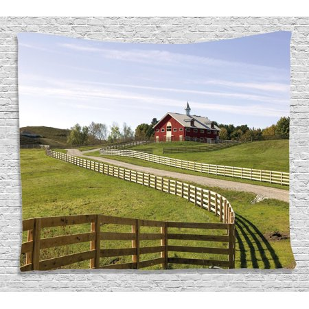 Farm House Decor Tapestry, Long Photo of Flowing Fence of Country House in Rural Grassland Ranch Pastoral, Wall Hanging for Bedroom Living Room Dorm Decor, 60W X 40L Inches, Multi, -
