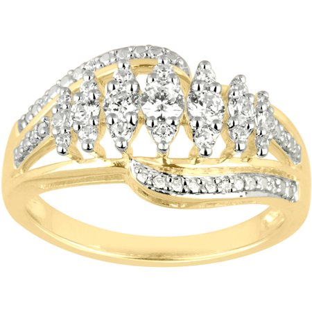 1/2 Carat T.W. Diamond 10kt Yellow Gold Marquise Stairway Ring (Marque Diamond Ring)