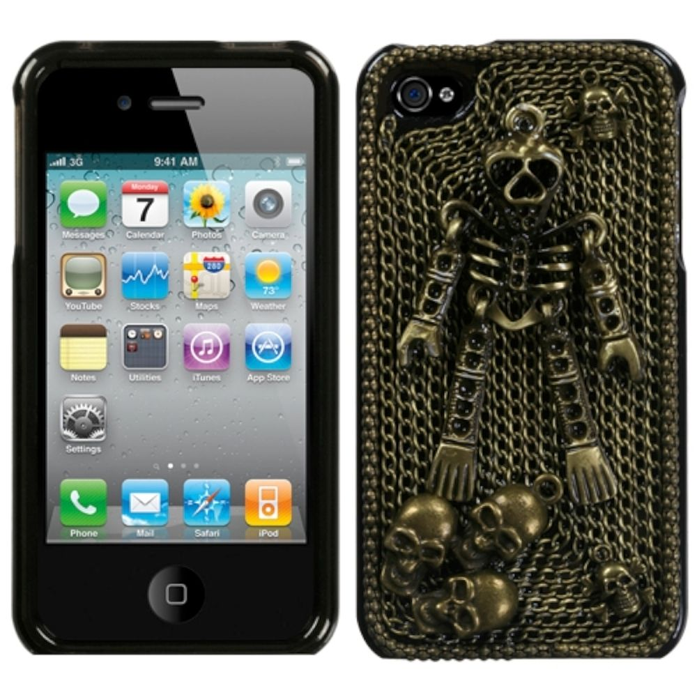 Insten Bronzed Skeleton Crystal 3D Diamante Case (w/Package) For iPhone 4 4S