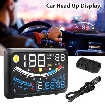 5 5 Car Hud Head Up Display Obd2 Port Speedometer Projector Speed Warning Gauge