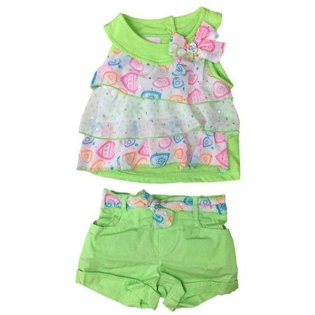 Infant & Toddler Girls Green Ruffle Heart Baby Outfit Tunic Shirt & Shorts Set