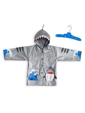kidorable boys' little shark pu all-weather raincoat, gray, ((6/7)