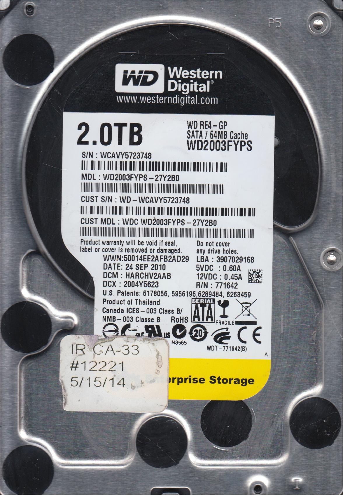WD2003FYPS-27Y2B0, DCM HARCHV2AAB, Western Digital 2TB SATA 3.5 Hard Drive by WD
