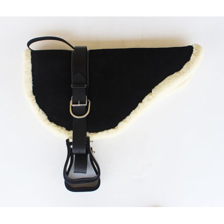 Horse SADDLE PAD Suede Leather Bareback Pad Treeless Stirrups Black 39136BK