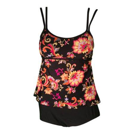 Womens Black Floral Double Strap Top Brief Two Piece Swimsuit Plus Size 24W Adult