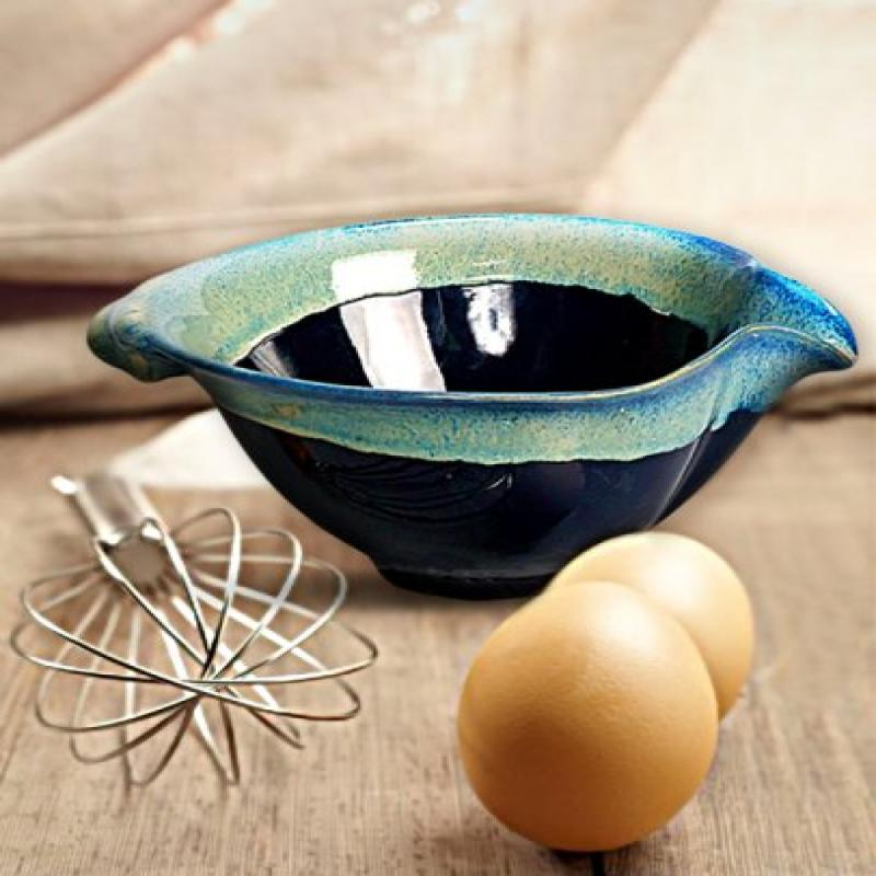 Tumbleweed Pottery 5569B Batter Bowl With Whisk - Blue