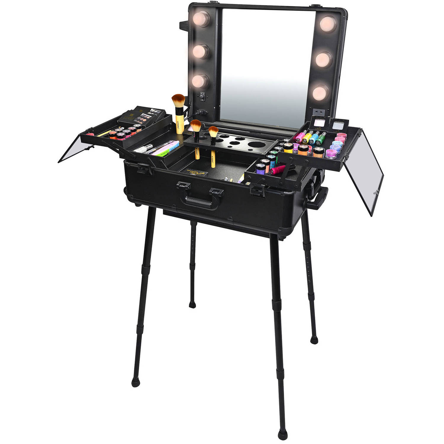 SHANY Cosmetics Studio-to-Go Wheeled Trolley Makeup Case & Organizer with Light