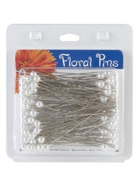 "Floral Pins, 3"", 6mm, Round, 144pk, White"