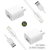 Ixir iPad Mini 2 Charger Apple Lightning Cable Kit by Ixir - {2 Wall Charger + 2 Cable}, Apple Certified USB Cables (White)