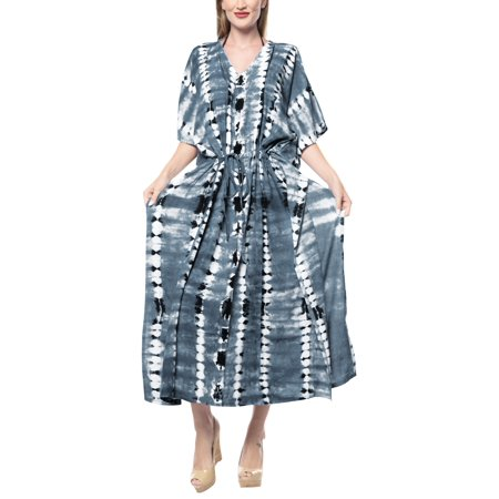 LA LEELA Rayon Tie Dye Beach Cover up Lounge Night wear Sleep Kaftan Dress