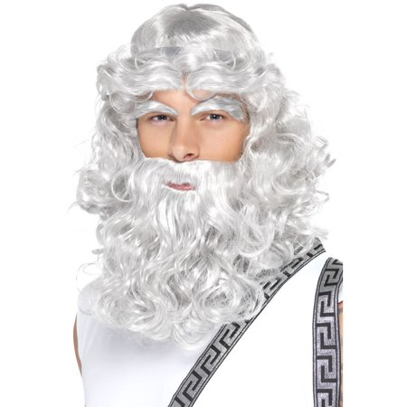 Grey Zeus Adult Costume Wig, Beard & Eyebrows - Grey Beard And Wig
