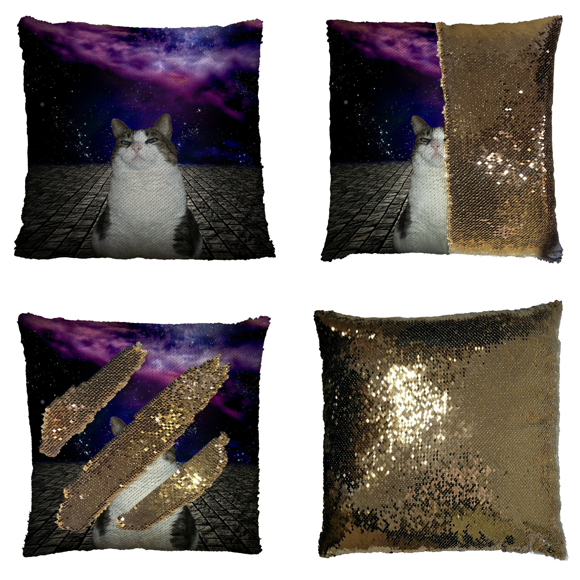 GCKG Comos Background Pillowcase, Proud Cat with Universe galaxy Space Bule Purple Reversible Mermaid Sequin Pillow Case Home Decor Cushion Cover 16x16 inches