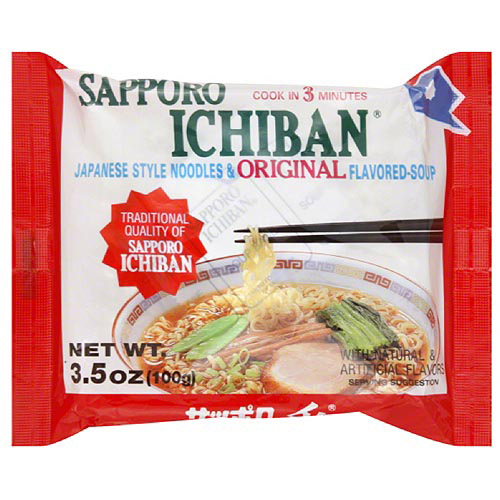 Sapporo Ichiban Japanese Style Noodles& Original Flavored-Soup, 3.5 oz (Pack of 24)