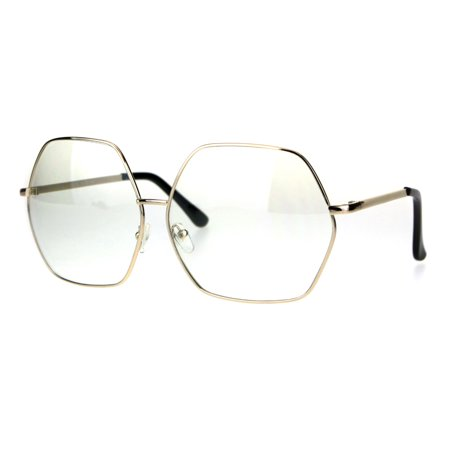 Hippies Glasses (Womens Oversize Octagon Metal Rim Hippie Clear Lens Glasses Gold)