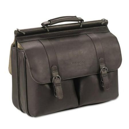 D5353 Executive Leather Briefcase - Espresso, 16 in.