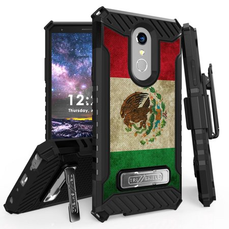 New Mexico Clip (BC Military Grade [MIL-STD 810G-516.6] Kickstand Rugged Cover Case with 360 Degree Rotatable Swivel Belt Clip Holster and Atom Cloth for LG Stylo 4+ Plus/LG Stylo 4 (2018) - Rustic Mexico Flag)