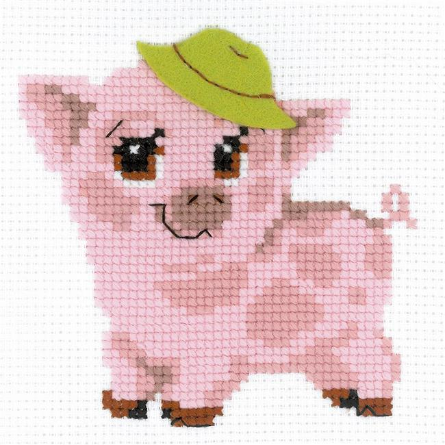 6 x 6 in. Piglet Counted Cross Stitch Kit - 10 Count