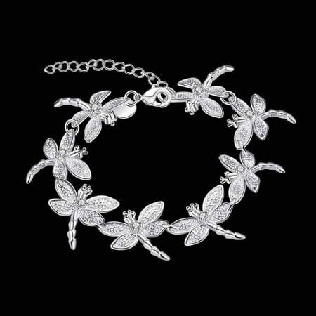 Dragonfly Chain Sterling Silver Bracelet -