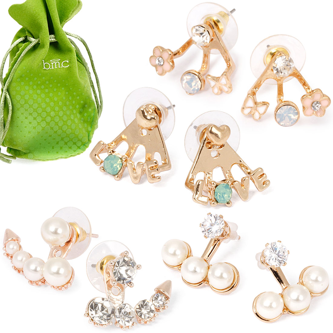 BMC Super Cute Girly 4 Pair Mini Gold Rhinestone Ear Cuff Stud Earring Set