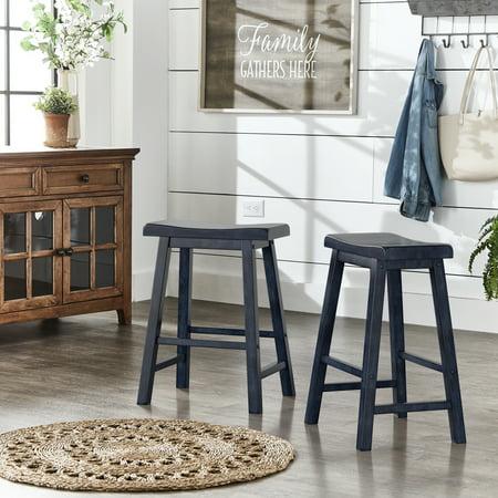 Weston Home Ashby Saddle Seat Backless Wood Counter Stools, Set of 2, Multiple - Oak Finish Wood Counter
