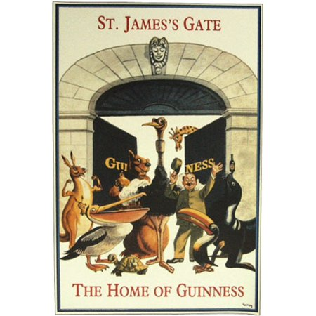 St James Gate Home Of Beer Zookkeeper Animals Vintage Poster  20 X 30 Reproduction Poster By Guinness From Usa