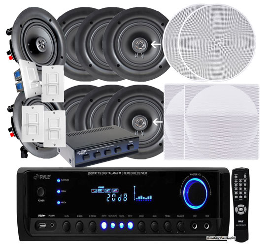 "Pyle 4 Pairs 150W 5.25"" In-Wall In-Ceiling Stereo White Speakers 300W Home Receiver"