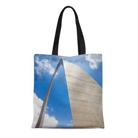 ASHLEIGH Canvas Tote Bag Gateway St Louis Arch Missouri Midwest the West Architecture Reusable Handbag Shoulder Grocery Shopping (Midwest Tote)