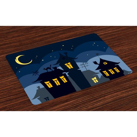 Halloween Placemats Set of 4 Old Town with Cat on the Roof Night Sky Moon and Stars Houses Cartoon Art, Washable Fabric Place Mats for Dining Room Kitchen Table Decor,Black Yellow Blue, by Ambesonne (Old Town Halloween)