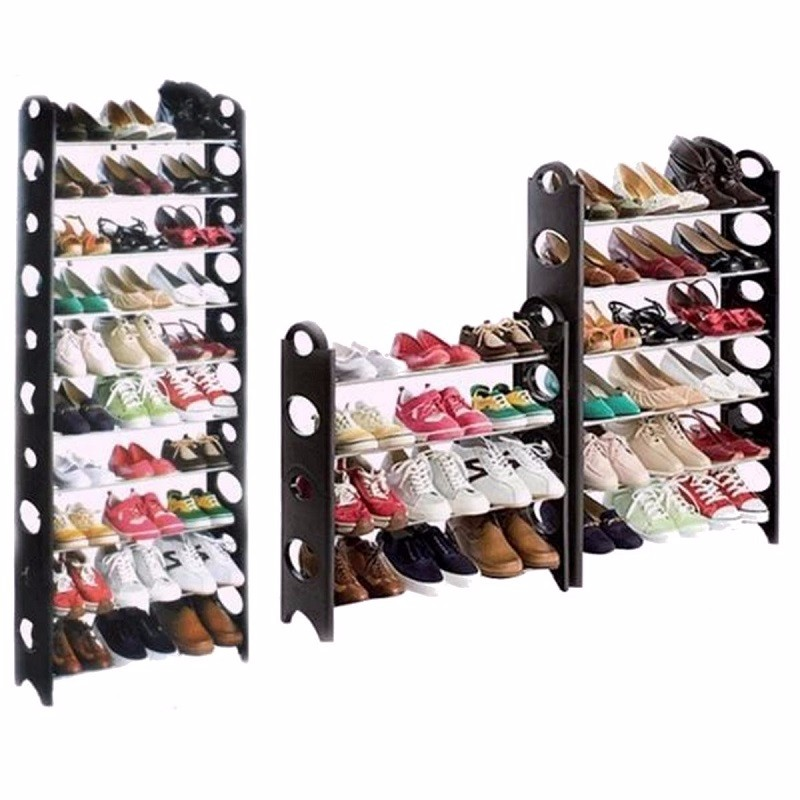 Shoe Rack Storage Organizer, 2/4/6/8/10 Tier Portable Wardrobe Closet Bench Tower Stackable, Adjustable Shelf - Strong & Sturdy Space Saver Wont Weaken or Collapse