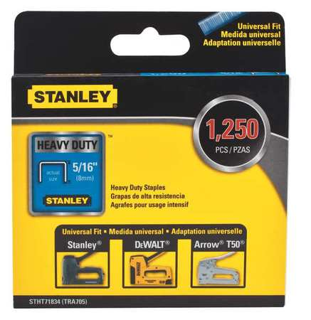 STANLEY Staple,5/16 Leg L(In.),Heavy Duty,PK1250 STHT71834