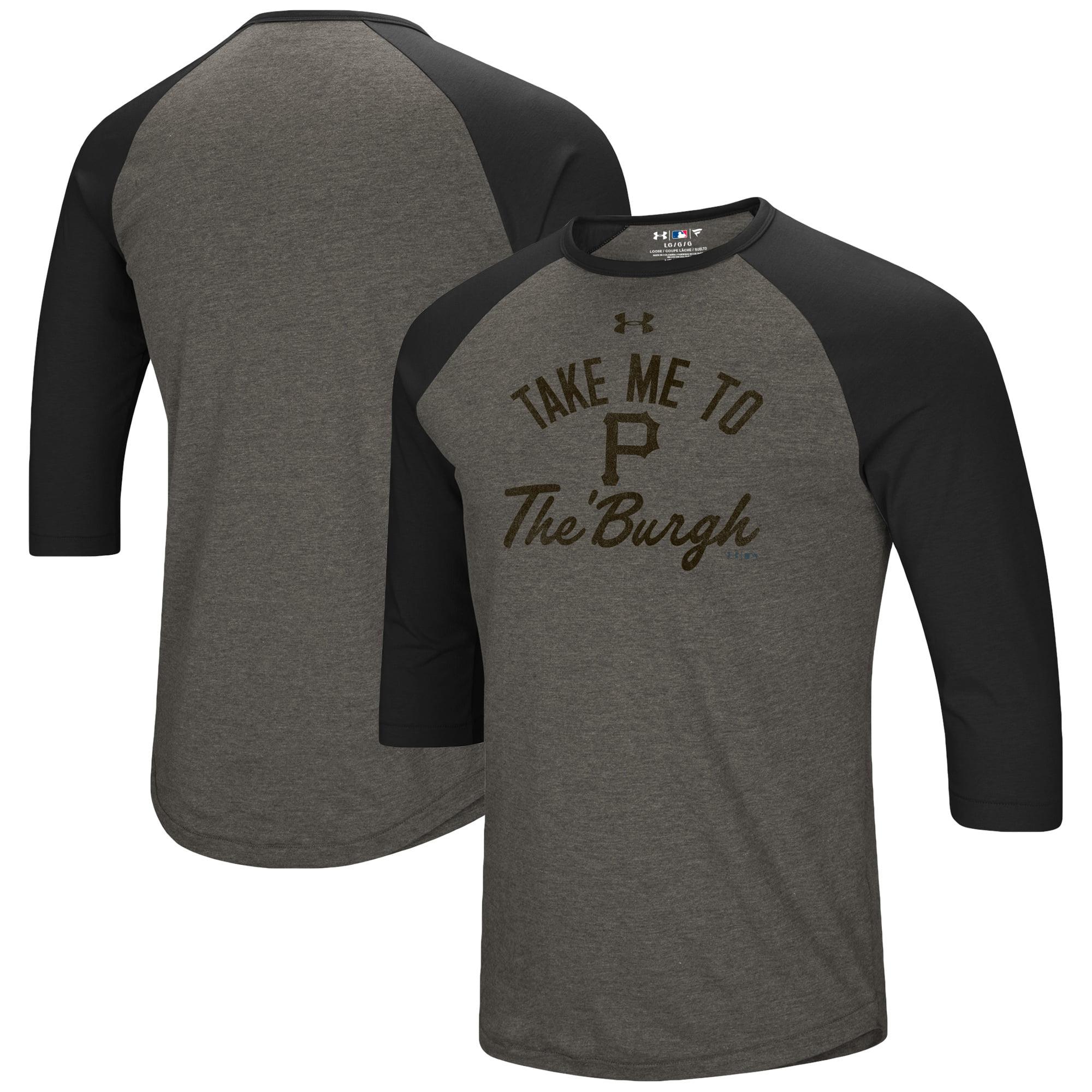 Pittsburgh Pirates Under Armour Heritage Performance Tri-Blend Raglan 3/4-Sleeve T-Shirt - Heathered Gray/Black